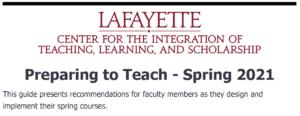 Preparing to Teach - Spring 2021 Image